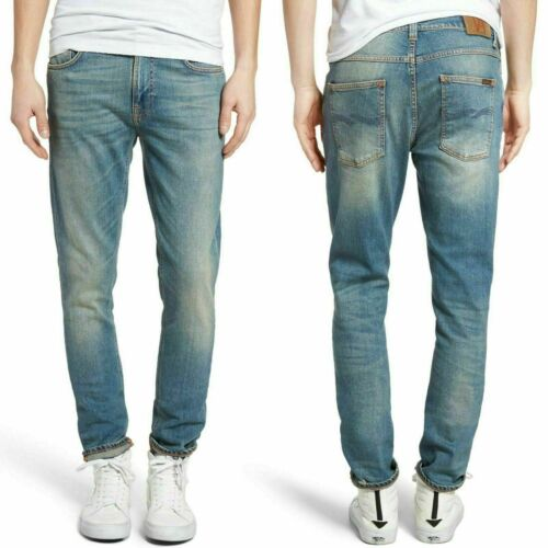new Nudie Mens Lean Dean Slim Tapered Fit Jeans B-Stock