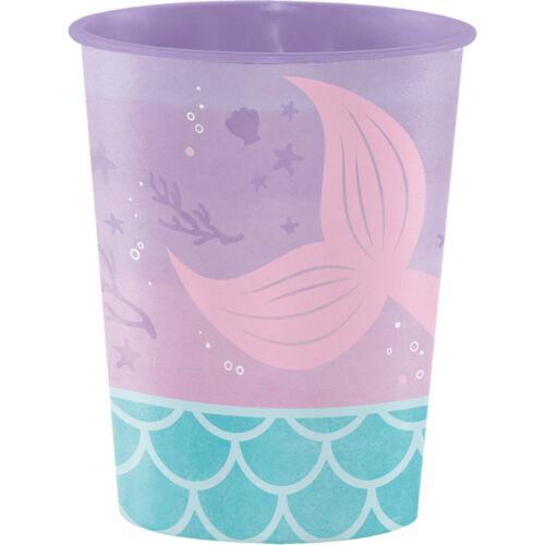 4 x Sirène Shine Plastique Souvenir Tasses Fête Faveurs Prix sirène Parti Cadeaux