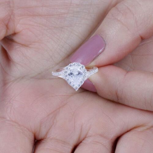 Pear Halo 925 Sterling Silver CZ Celebration Ring Wedding Band Size 3-14 SE041A