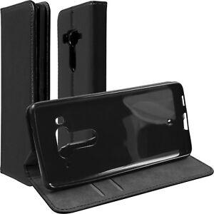 Custodia-Book-Case-HTC-U12-Plus-Finta-pelle-Nero-Copertura-Cellulare-Regolabile