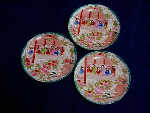 Asian-Style-Plate-Saucer-Decorative-5-5-inch-Geisha-Flowers-Lot-of-3