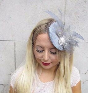 Image is loading Grey-Silver-Birdcage-Veil-Feather-Fascinator-Hat-Hair- c8b5a5fb873