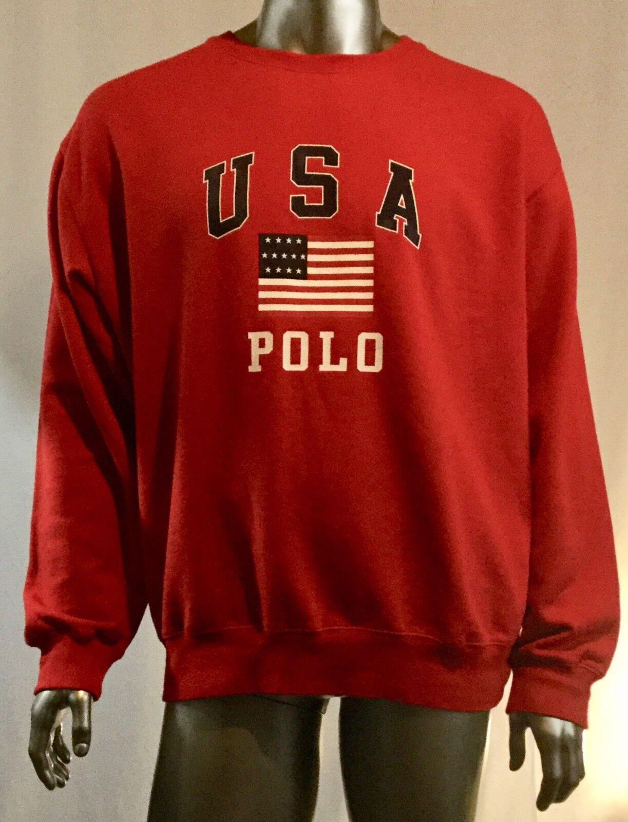 Herren Rot Polo von Ralph Lauren USA Flagge Spellout Sweatshirt Größe XL