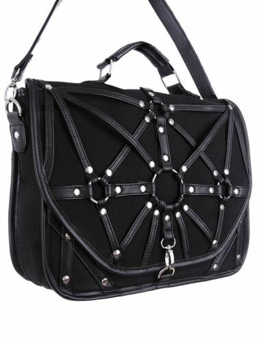 Restyle Geometry O-Ring Strap Black Denim Occult Witch Messenger Bag