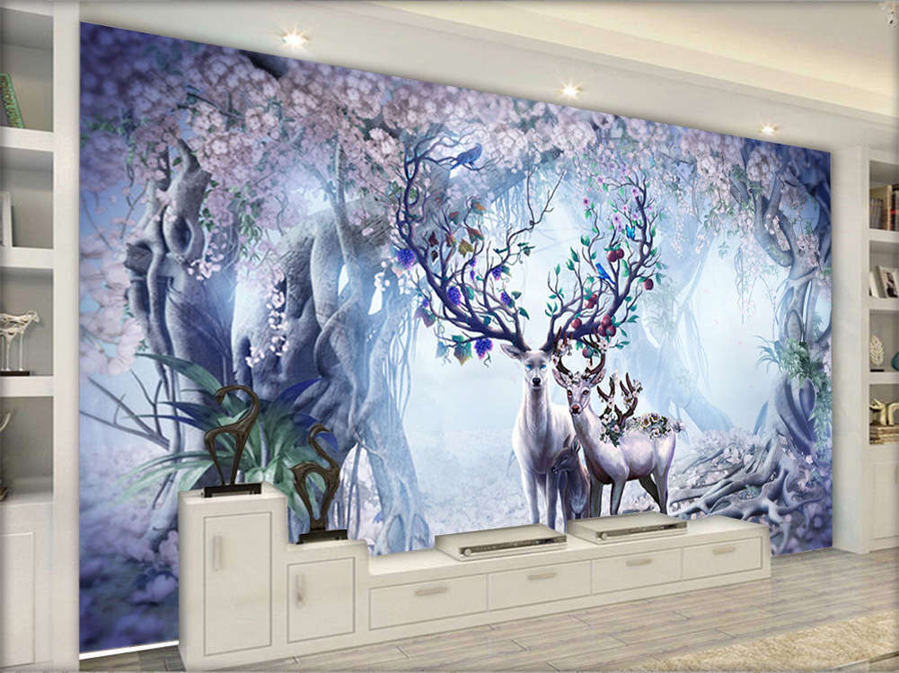 Fantasy Artistic Deer 3D Full Wall Mural Photo Wallpaper Printing Home Kids Deco