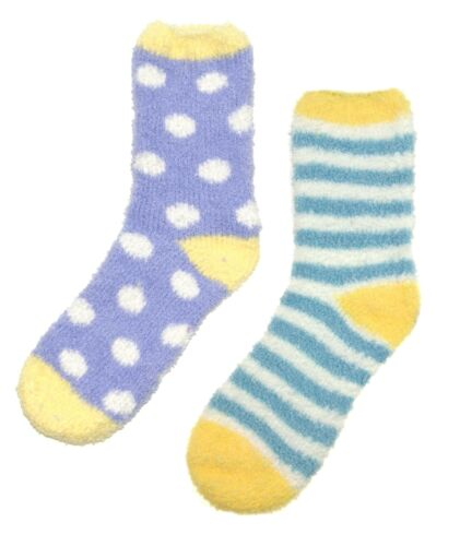 Womens Cosy Slipper Socks 2 Pack Soft Fleece Lounge Bed Socks Thermal Booties