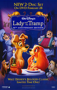 Lady And The Tramp 1955 Original Dvd Movie Poster 50th Anniversary Rolled Ebay