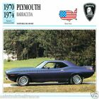 PLYMOUTH BARRACUDA 1970 1974 CAR VOITURE USA ETATS-UNIS CARTE CARD FICHE