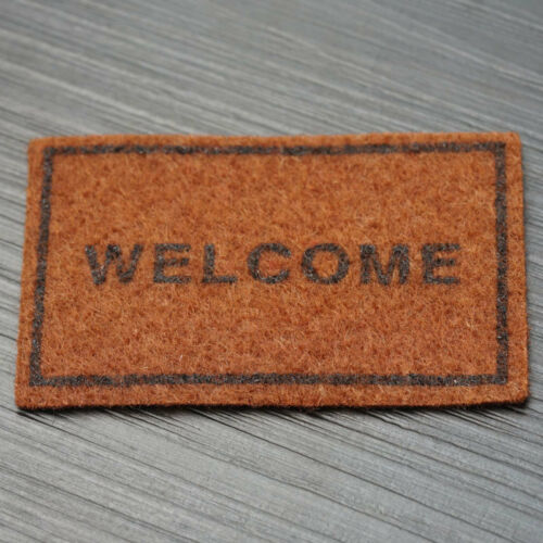 1:12 Welcome Brown Rug Miniature Dollhouse Home Decor Accessory 6.4 x 3.7 cm Pro