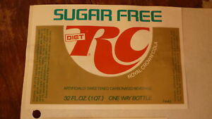 OLD-1970s-USA-AMERICAN-SOFT-DRINK-SODA-LABEL-RC-ROYAL-CROWN-COLA-DIET-TYPE-1