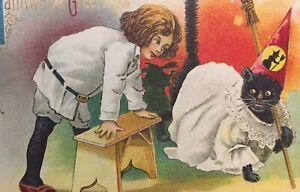 Vintage-Halloween-Postcard-Barton-and-Spooner-S-619-Child-amp-Dressed-Black-Cat