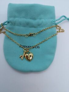 1a61f37757a9c Details about Tiffany & Co. 18k Yellow Gold Puff Heart Lock & Key Pendant  Necklace - 16