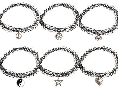 12 Pcs//set Vintage Stretch Tattoo Choker Necklaces Women Girls Charm Punk Retr X