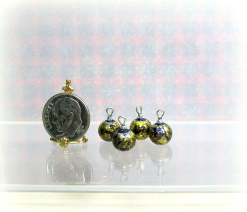 Dollhouse Miniature 8mm Gold Foil Speck Christmas Ornaments Set of 4