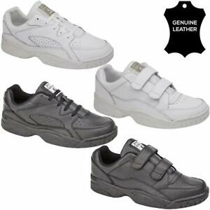 mens genuine leather walking running gym sports trainers