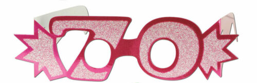 PINK 70TH BIRTHDAY AGE GLITTERED FOIL SPECTACLES PARTY GLASSES