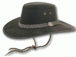 011177bde09f4 Details about Barmah Drover Oilskin Wide Brim Leather Hat - Brown