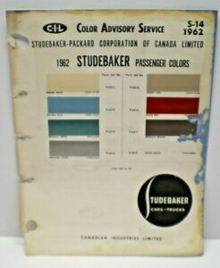 1962  STUDEBAKER  CANADA CAR COLOR C-I-L CANADIAN PAINT CHIP  CHART