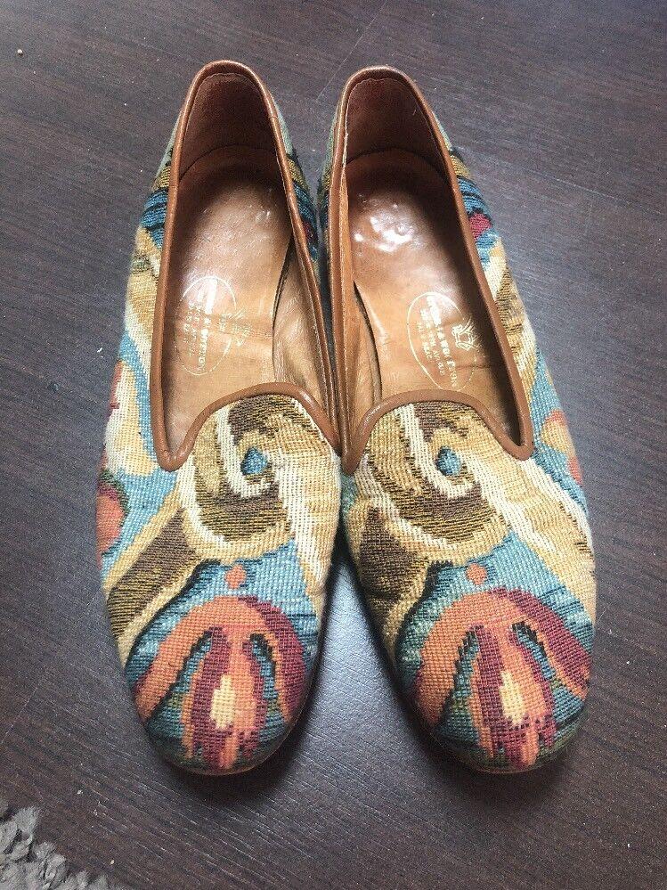 Stubbs & Wootton Needlepoint Loafers Size 7.5 Vintage