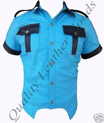 GENUINE LEATHER MENS SKY BLUE & BLACK POLICE MILITARY UNIFORM SHIRT PATCH BLUFF