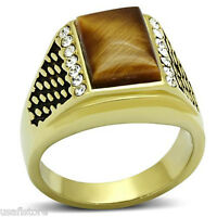 Brown Cat Eye With Crystal Gold Ep 316ss Mens Ring