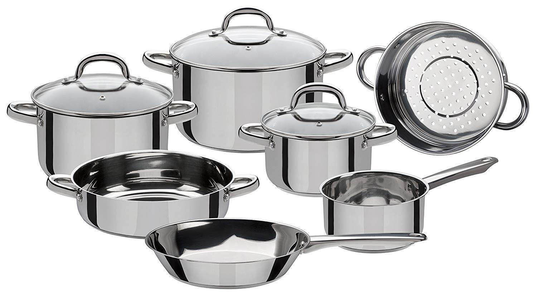Cocina De Acero Inoxidable Utensilios de cocina de ollas Cocina Pan no tóxico, 10 piezas