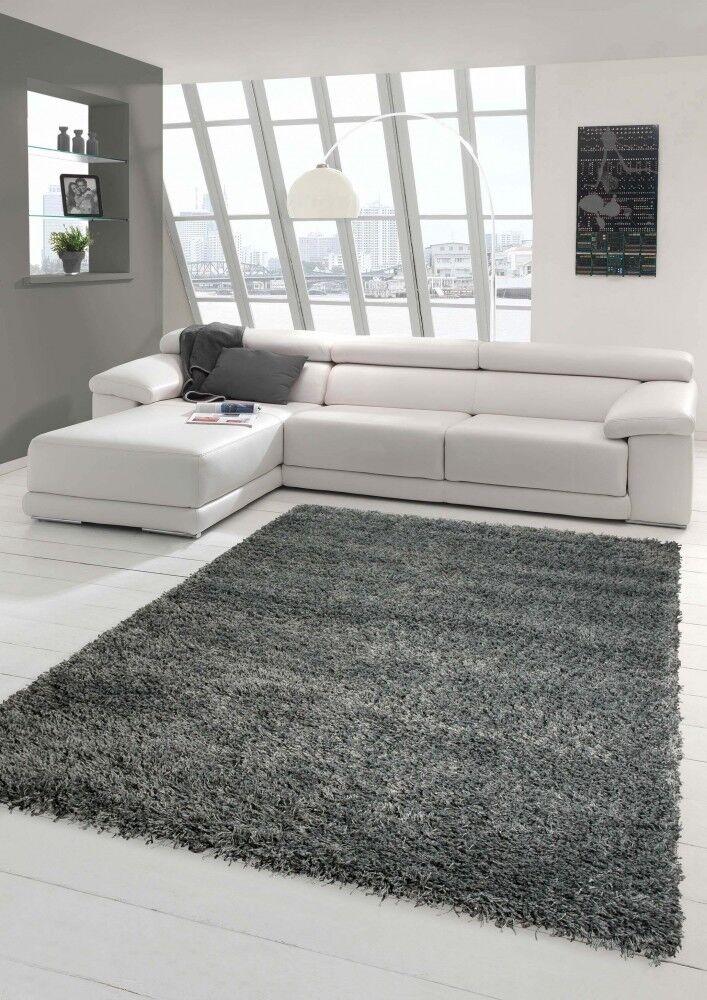 Tappeto shaggy tappeto alto a pelo lungo uni design grigio