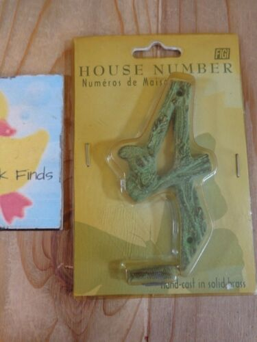 """HOUSE NUMBERS 4/"""" Solid Brass GREEN WASH Insects on Twig Texture PICK ONE"""