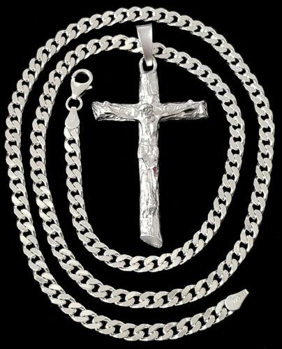 Jesus Kreuz XXL Anhänger 925er silber 3D diamantiert Halskette Panzerkette 55cm