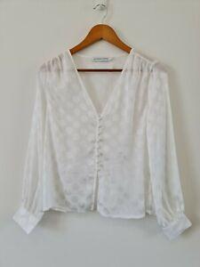 Atmos-amp-Here-Womens-White-Polka-Dot-Blouse-Size-6-Long-Sleeve-V-Neck