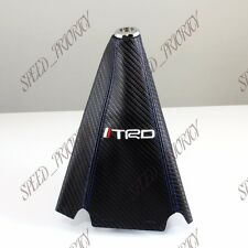 TRD Carbon Fiber Look PVC Blue Stitches Shift Knob Shifter Boot Cover MT/AT JDM