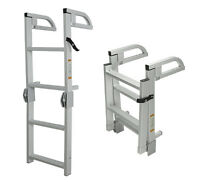 4-step Folding Alum Boat Boarding Ladder W/ Handles For Pontoon, Runabout