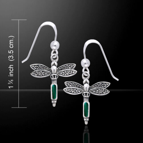 Dragonfly .925 Sterling Silver Earrings with Choice of Gemstone by Peter Stone