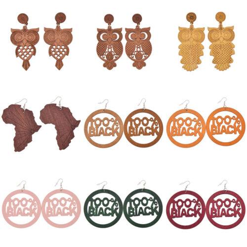 Les femmes en Bois Naturel Africain Carte Hibou Dangle Boucle d/'oreille en bois Oreille Goutte Bijoux Punk