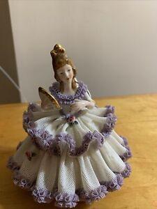 Gisela Keilhauer German Dresden Lace Porcelain figurine Girl W/fan DR