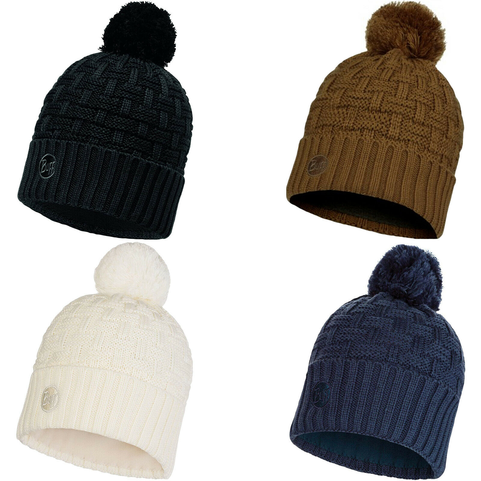 Buff Unisex Arion Chunky Fleece Lined Knitted Warm Winter Bobble Beanie Hat