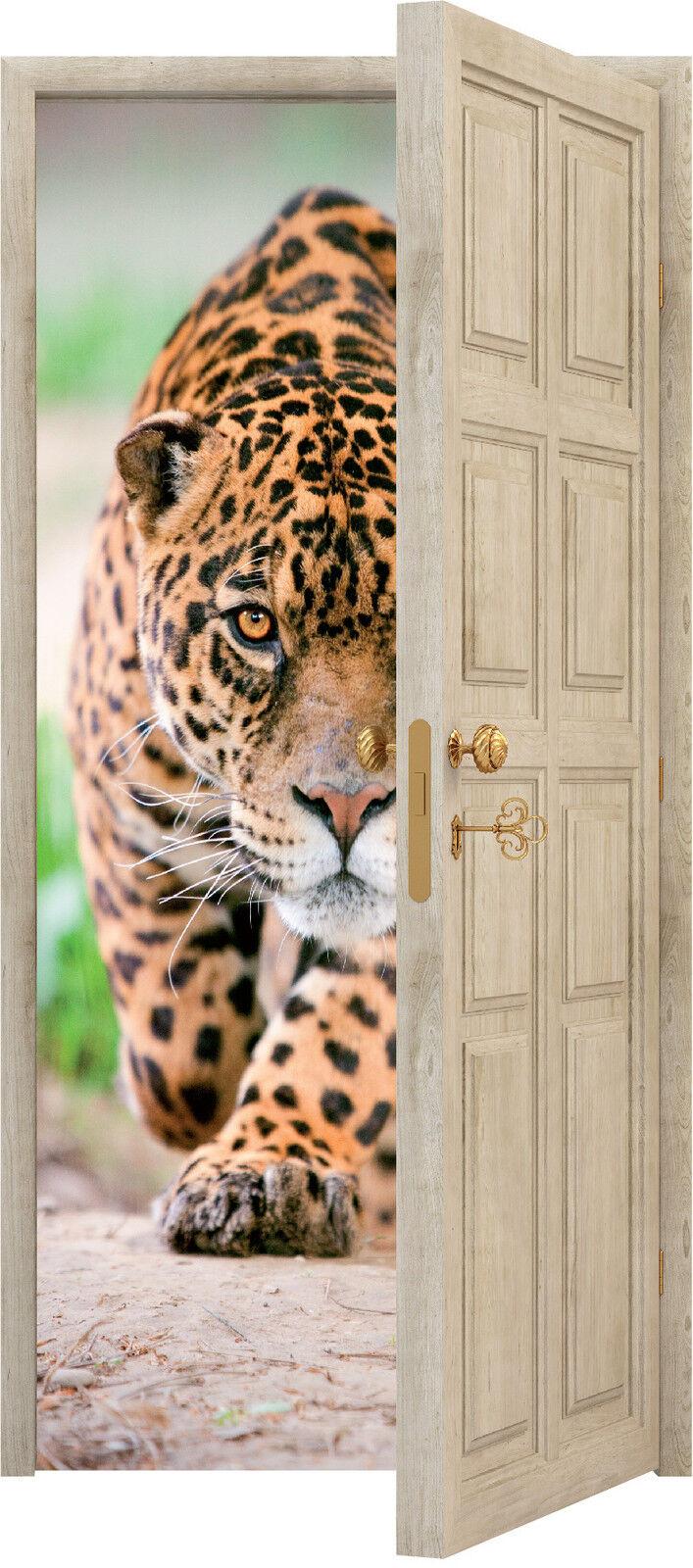 Adhesivo Puerta Trompa Trampantojo Decoración Jaguar Ref 858 (3 Tamaños a