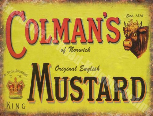 Vintage Food, 94, Colman's English Mustard, Butcher Shop, Small Metal Tin Sign