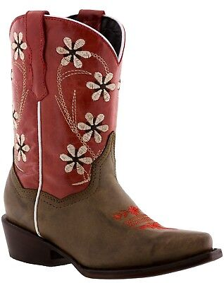 Girls Kids Sand Red Cross Dress Stitched Rodeo Leather Cowboy Boots Snip Toe