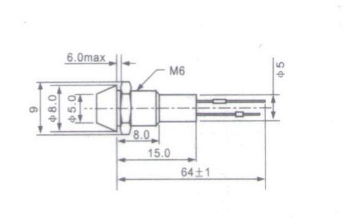 5 Pcs 120V AC//DC Cutout 6mm Metal RED LED Indication Signal Pilot Lights