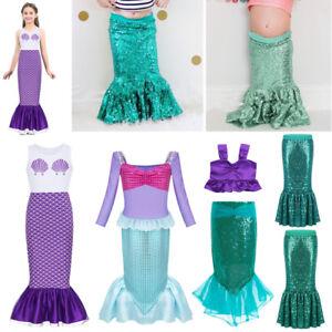 Kids Pink Mermaid Princess Costume Fancy Dress Child Girls Dance Cosplay Wig New