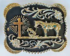 CROSS PRAYING FAITH ANIMAL RODEO BIG COWBOY WESTERN GOLD BLACK BELT BUCKLE