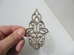 Vintage Brass Ormolu Hardware Top French Cherub Mount Old Antique Rococo Leaf