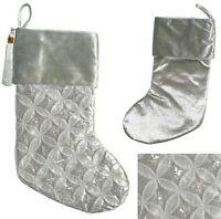 Holiday Lane Silver Diamond Tassel 17 Christmas Holiday Stocking Msrp $40