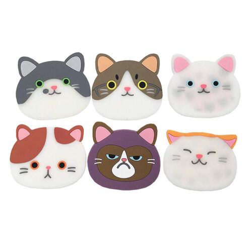 6Pcs Cute Cat Shaped Tea Coasters Cup Holder Mat Coffee Drink Silicone Pad US