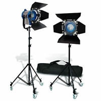 2 X300w Pro Movie Fresnel Tungsten Spotlight Lighting Studio Video+bulb+barndoor on sale