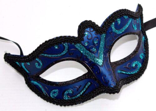 TURQUOISE DARK BLUE /& BLACK STUNNING VENETIAN MASQUERADE PARTY EYE MASK NEW