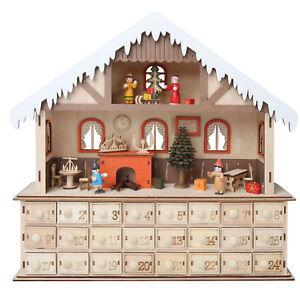 Image Is Loading Lighted Santa 039 S Work Advent Calendar Wooden