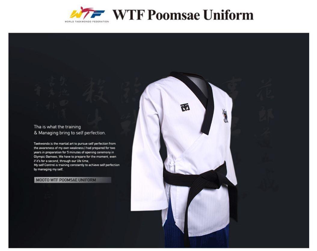 Mooto WTF Poomsae Dan TaeKwonDo Uniform,TKD, KukKiwon,Korea Sport