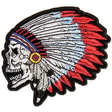 Embroidered Screaming Indian Skull Head Dress Iron on Sew on Biker Patch Badge